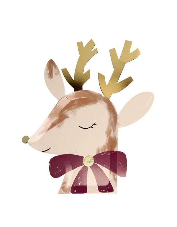Meri Meri Die-cut Reindeer with Bow Plates  with lots of gorgeous gold foil detail and are printed on both sides for extra effect, perfect for a Christmas celebration