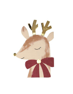 Meri Meri Die-cut Reindeer with Bow Napkins with lots of gorgeous gold foil detail and are printed on both sides for extra effect, perfect for a Christmas celebration