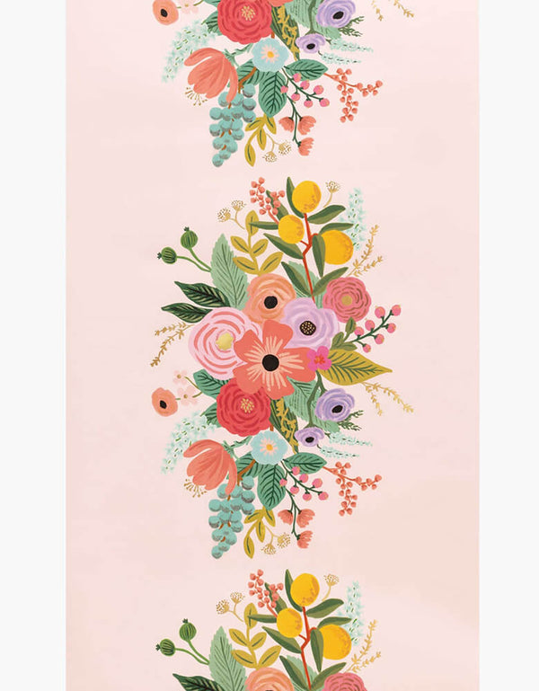 Rifle Paper Co - Garden Party Table Runner. This party paper table runner features playful florals graphic design with gold foil details in a light pink background. this is perfect for spring party, summer party, any garden party, tea party, baby shower, bridal shower, girl themed party celebrations