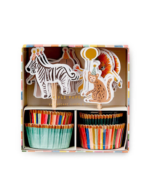 Rifle-Paper-Co Party Animals Cupcake Kit. This kit contains 24 assorted liners and 24 assorted toppers, with illustrated designs including zebras, lions, monkeys, elephants and gold foil accents. This modern designed cupcake kit will make your homemade sweet treats even more special