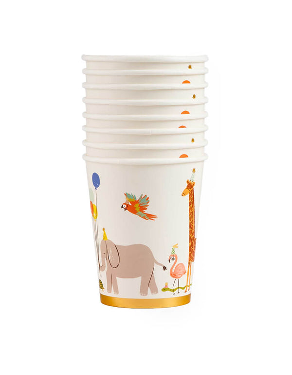Rifle Paper Co - Party Animals Cups. Featuring a parade of adorable animals march around the paper cups with balloons, presents, and gold foil accents, they add extra fun to your celebration!