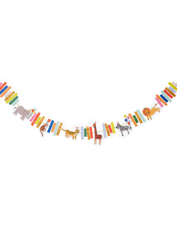 Rifle-Paper-Co Party Animals Garland. 8 feet long. This adorable garland features animal friends including an elephant, a monkey, a tiger, a giraffe, a zebra and a lion with lots of right colors. Its bright colors add a festive touch to your celebration!