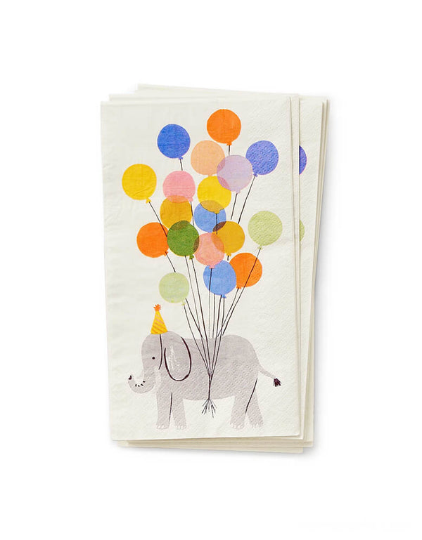 Rifle Paper Co - Party Animals Guest Napkins. This duble-sided guest napkins featuring party animals elephant with party hat and festive balloons design, will bring an extra dose of fun to your party table.