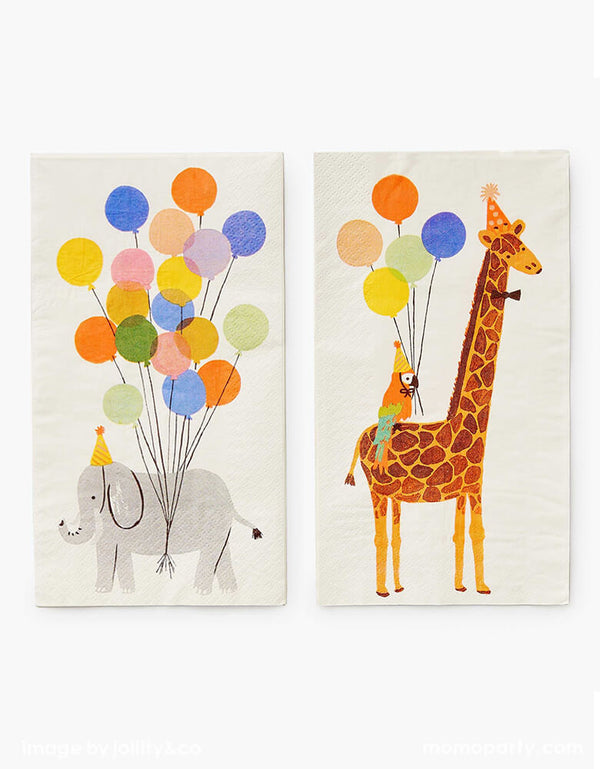 Rifle Paper Co - Party Animals Guest Napkins. Featuring double-sided illustration design of party animals elephant with party hat and festive balloons, a giraffe carrying parrot wearing party hats and lots of balloons. These modern cute partyware will bring an extra dose of fun to your party table, 1st birthday party, party animal themed party, zoo themed party, get wild party, safari animal themed party, kids birthday, or any animal lovers party