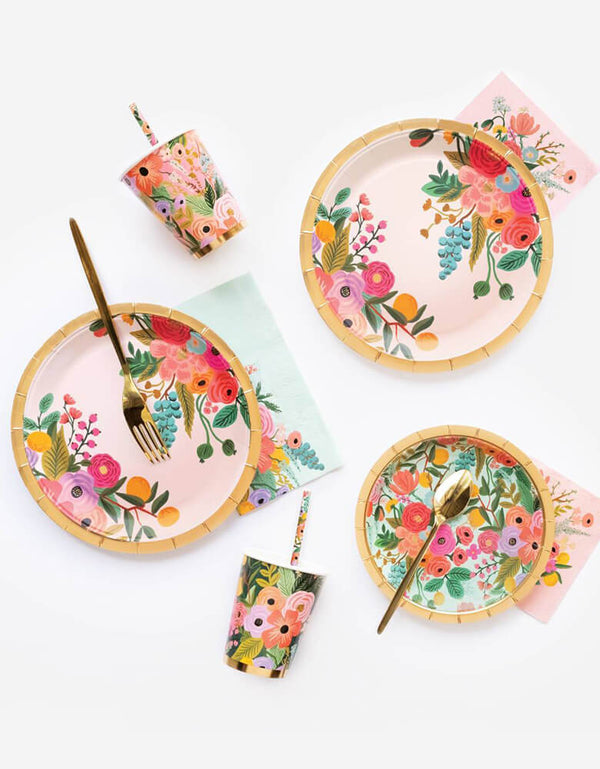 Rifle-Paper_Garden-Party-Goods with flower plates, cups napkins and straws