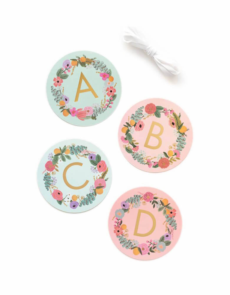 Rifle-Paper_Garden-Party-Letter-Garland set with letter A, B, C and D