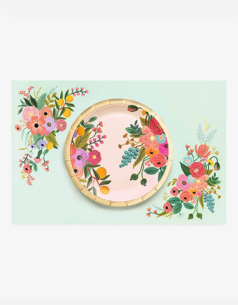 Rifle-Paper_Garden-Party Large pink flower plate on top of Mint flower Placemats