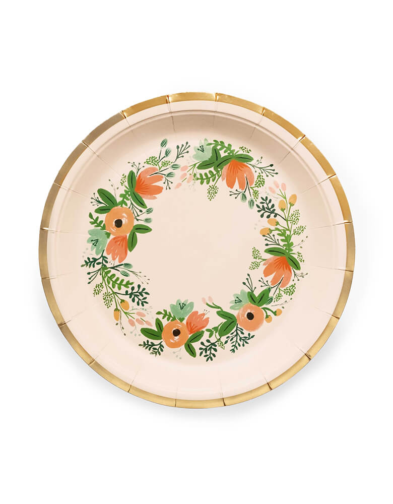 Rifle Paper Co - Wild flower Large Plates. Pack of 10. These gorgeous wildflower Large plates with gold foil details and flower illustrations are simply elegant. Perfect for an afternoon tea party or a garden baby shower. Make any meal look festive with our floral party plates - an essential at any baby shower, engagement party, or birthday brunch.