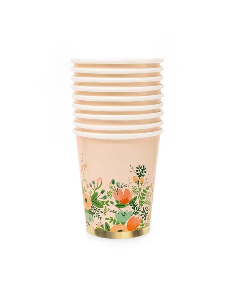 Rifle Paper Co - Wild flower Party Cups. Pack of 10. These gorgeous wildflower Party cups with gold foil details and floral illustration design on a light blush colored paper cup. are simply elegant. Perfect for an afternoon tea party or a garden baby shower. These wildflower cups put the fresh in refreshments  for an essential at any baby shower, engagement party, or birthday brunch.