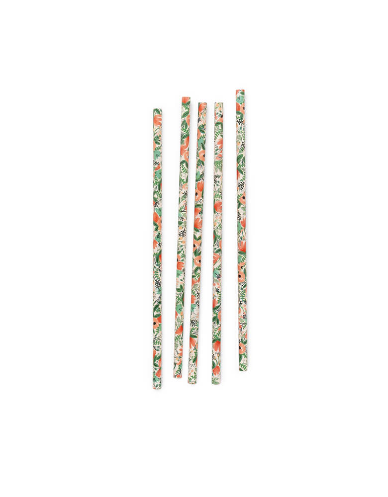 Rifle Paper Co - Wildflower Party Straws.  Pack of 25. Featuring beautiful floral designs, these eco-friendly paper straws are perfect for a girly gatherings!  Tea party, Faire party, Garden party, Bridal shower, Mother's day party, or any floral themed party