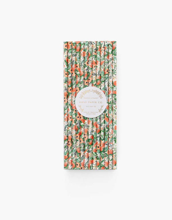 Rifle Paper Co - Wildflower Party Straws. Pack of 25 in a clear package. Featuring beautiful floral designs, these eco-friendly paper straws are perfect for a girly gatherings! Tea party, Faire party, Garden party, Bridal shower, Mother's day party, or any floral themed party
