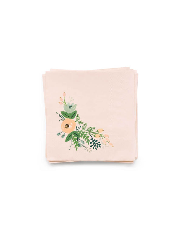 Rifle Paper Co - Wild flower Small Napkins. Pack of 20. These gorgeous wildflower small napkins with gold foil details are simply elegant. Perfect for an afternoon tea party or a garden baby shower.
