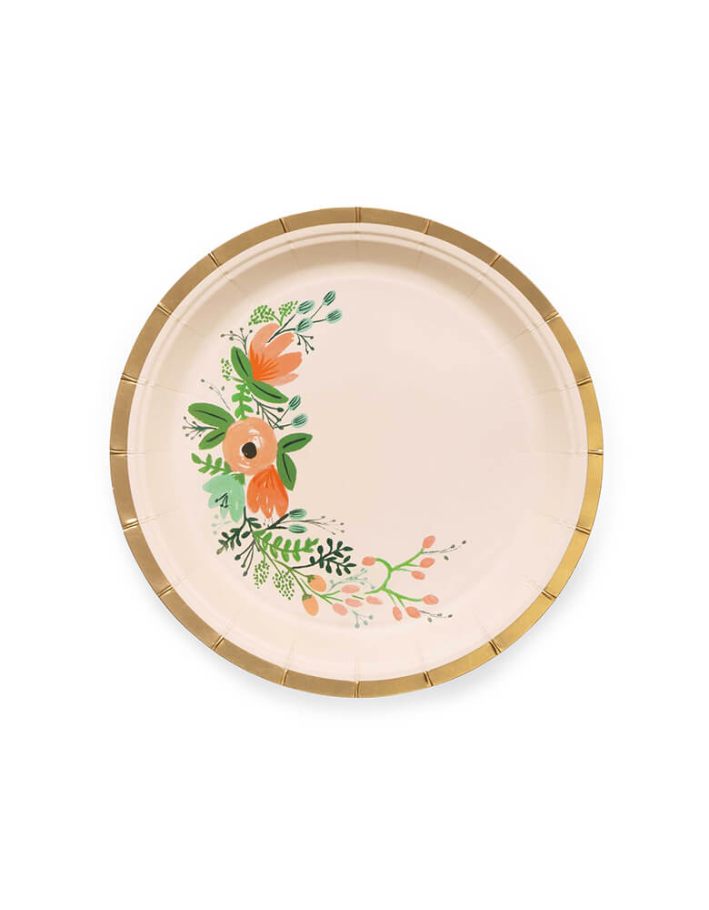 Rifle Paper Co - Wild flower Small Plates. Pack of 10. These gorgeous wildflower small plates with gold foil details are simply elegant. Perfect for an afternoon tea party or a garden baby shower. Make any meal look festive with our floral party plates - an essential at any baby shower, engagement party, or birthday brunch.