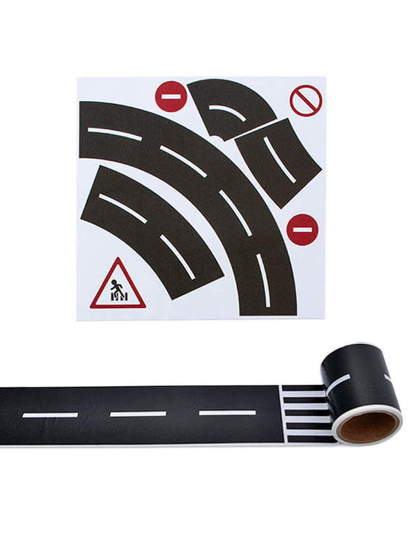 Road Tape and Curve Set, Tape Toy Car Track for Kids, Sticker Roll for Cars and Train Sets