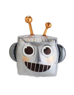 "Qualatex 30"" Robot Head Shaped Foil Balloon for Boy's robot themed birthday Party"