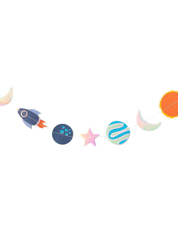 My Minds Eye 4 ft Rocket-Space-Mini-Banner with rockets, planets, moons, suns, and stars