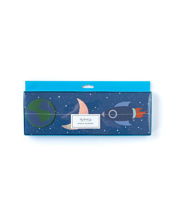 My Minds Eye 4 ft Rocket-Space-Mini-Banner with rockets, planets, moons, suns, and stars in its packaging