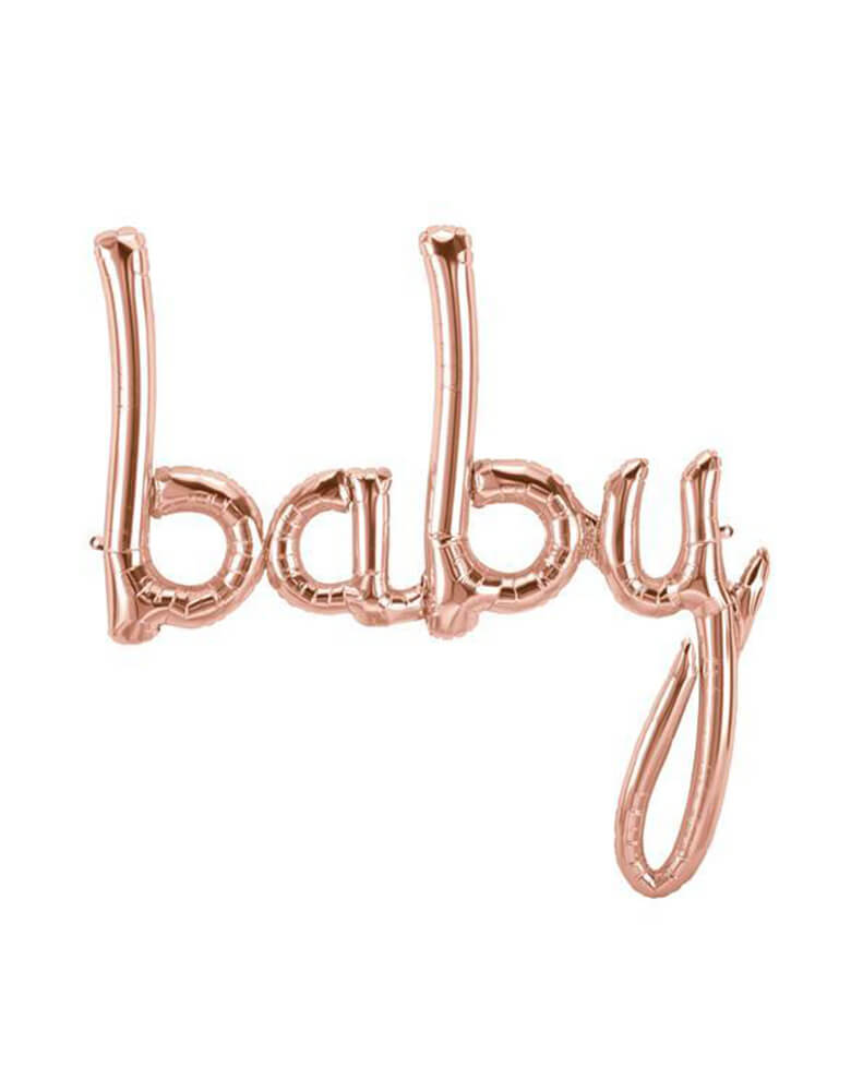 "46 inches Northstar Rose Gold Foil Balloon spelling out ""Baby"" in script font"