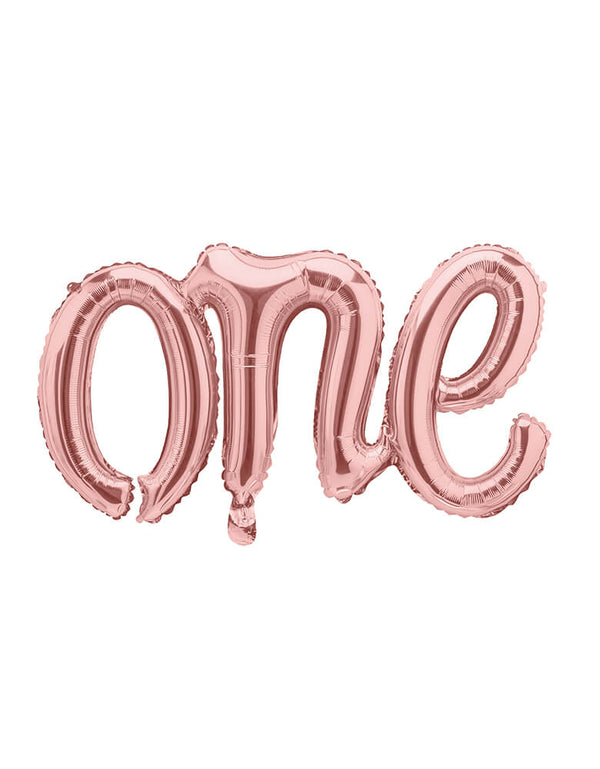"Rose Gold One Script Foil Balloon by Party Deco, featuring 26 x 14.5 inches ""one"" foil balloon in script font"