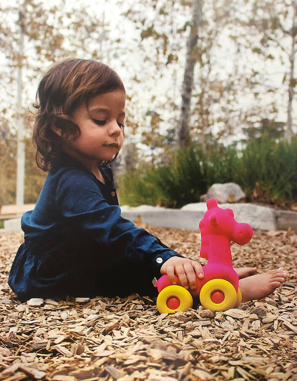 Rubbabu Animal on Wheels - Giraffe On Wheels, Pink Squishy Giraffe with Form yellow wheel, Eco-friendly sensory toys for babies, children and special needs.