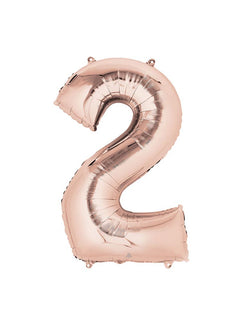 "34"" Large Number Rose Gold Foil Mylar Balloon #2"