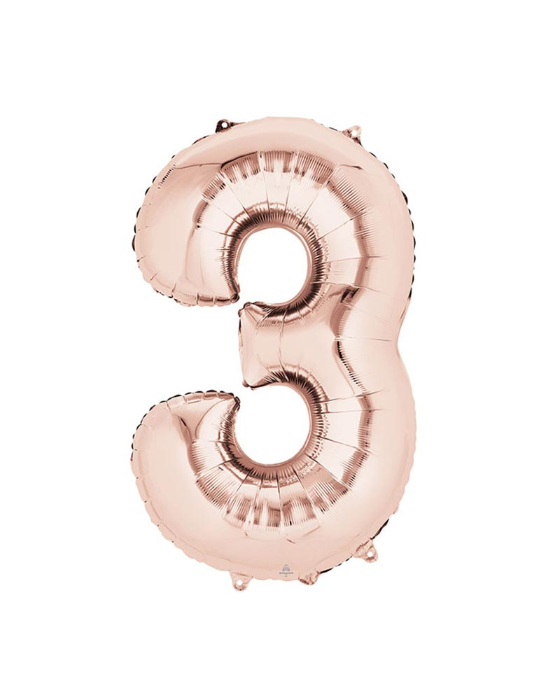 "34"" Large Number Rose Gold Foil Mylar Balloon number 3"