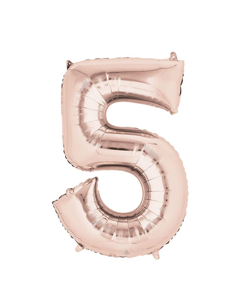 "34"" Large Number 5 Rose Gold Foil Mylar Balloon"