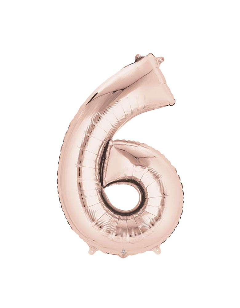 "34"" Large Number 6 Rose Gold Foil Mylar Balloon"