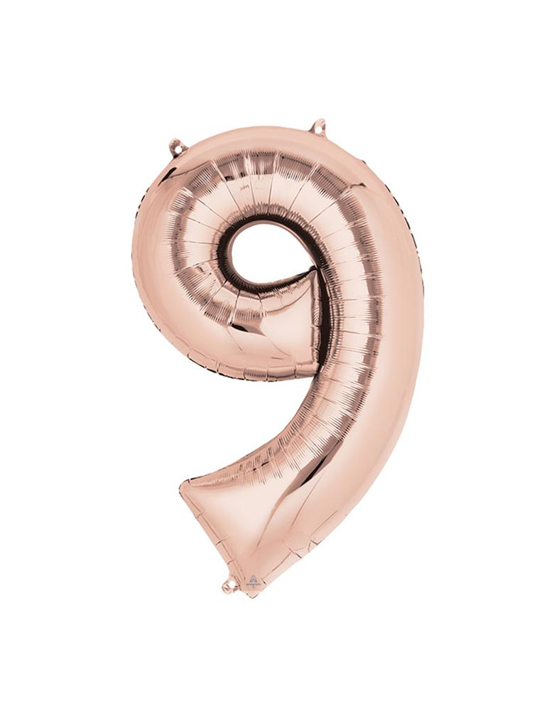 34 inches Large Number Rose Gold Foil Mylar Balloon #9