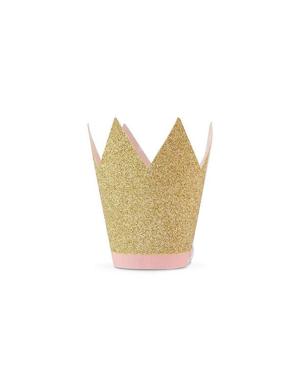 my mind's eye Princess Crown Party Hats with gold glitter finish and pink paper fringe, Pack of 8