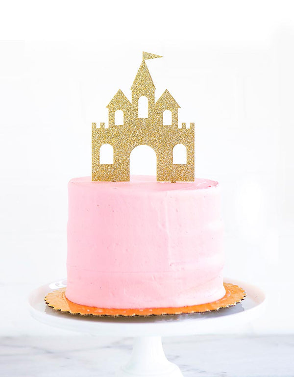 pink cake with reusable my minds eye Princess Castle gold glitters acrylic Cake Topper