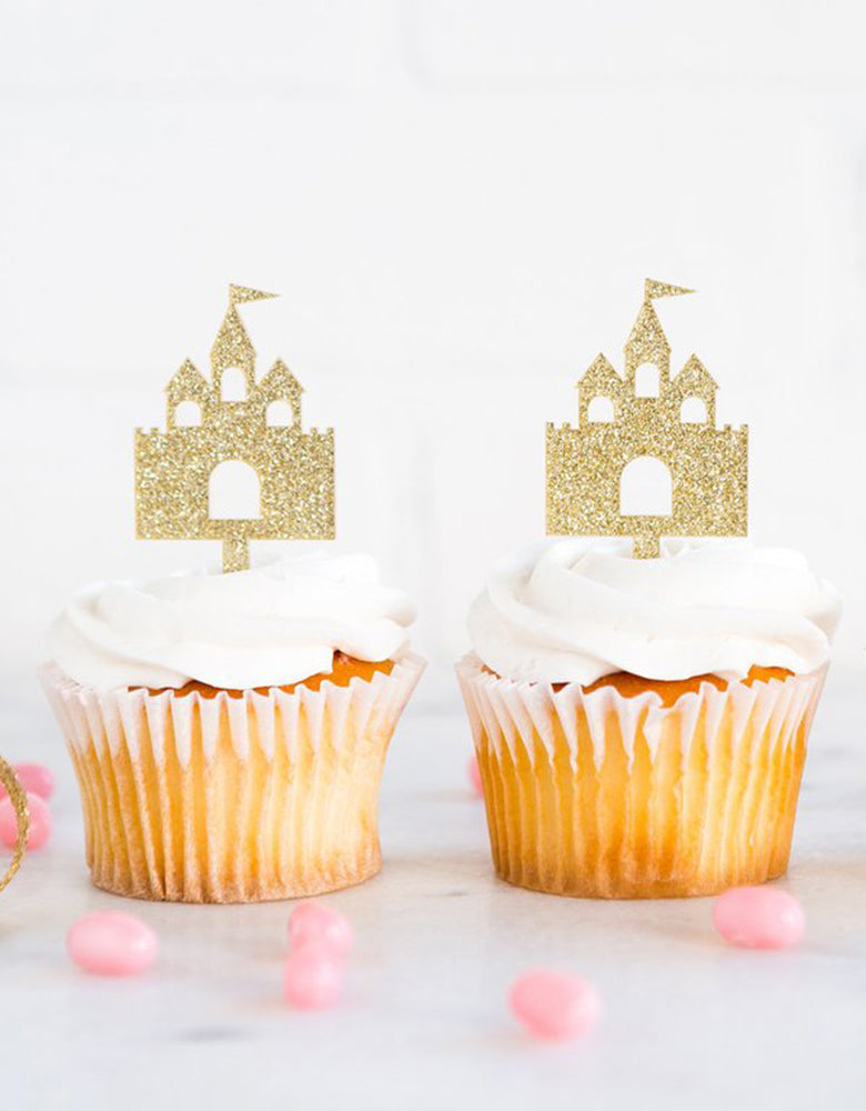 Princess party photo of Princess Castle gold glitters Cupcake Toppers on cupcakes