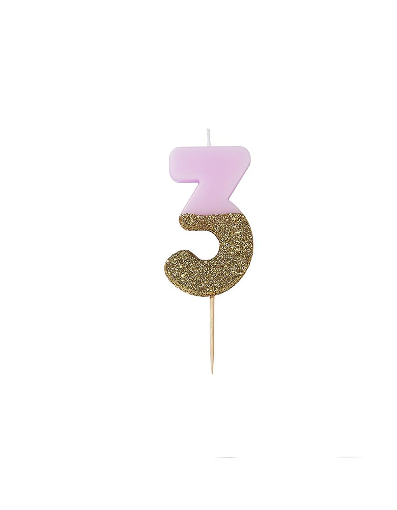 Talking Tables We Heart Birthdays Glitter Candle_Number 3 in Pink and Gold Glitter