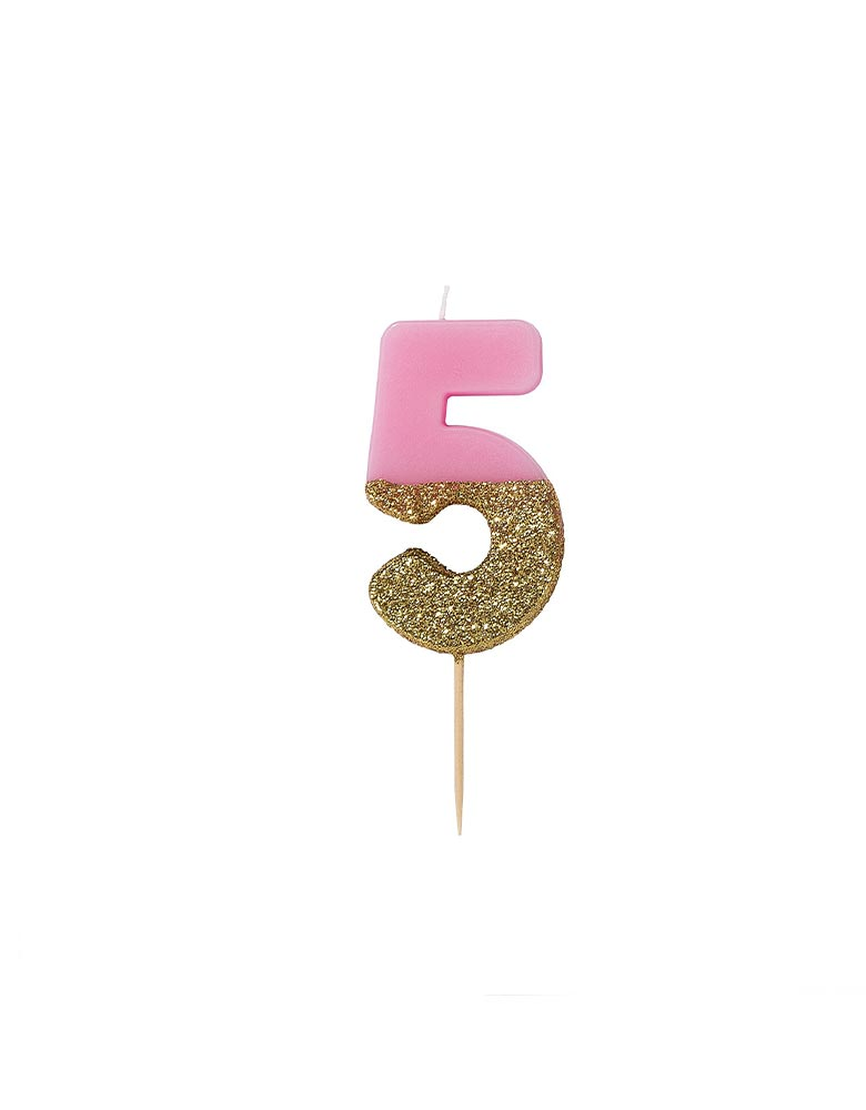 Talking Tables We Heart Birthdays Glitter Candle_Number 5 in Pink and Gold Glitter
