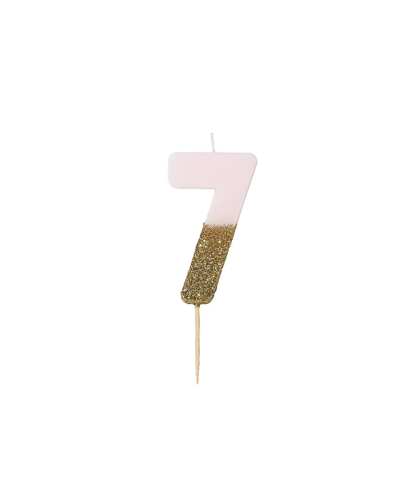 Talking Tables We Heart Birthdays Glitter Candle_Number 7 in Pink and Gold Glitter