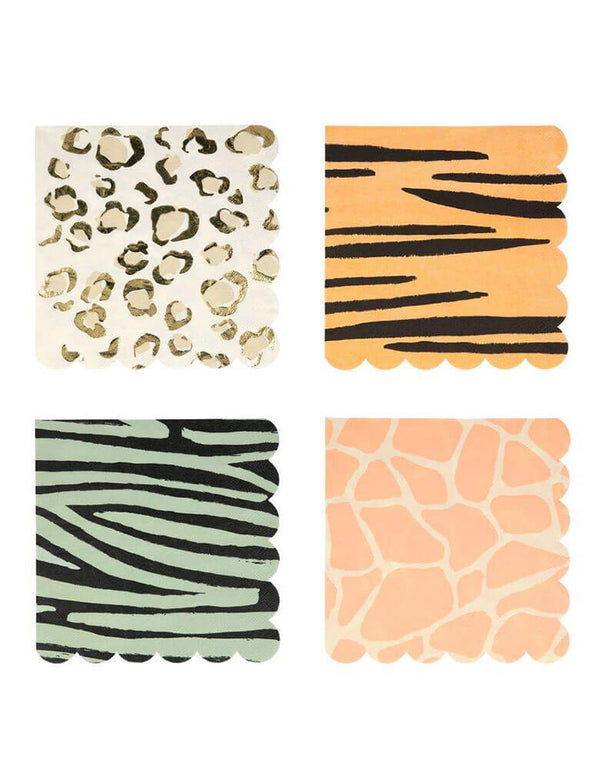 "Meri Meri Safari Animal Print 6.5"" Large Napkins in 4 designs"
