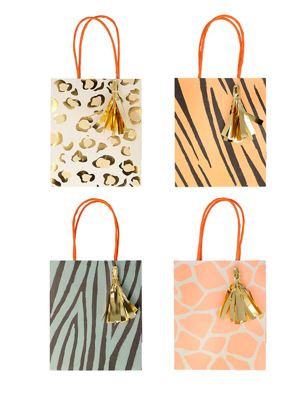 Meri Meri Safari Animal Print Party Bags. Set of 8. These paper favor bags feature zebra, giraffe, tiger, and leopard print designs with a twisted paper handle and shiny gold foil tassels