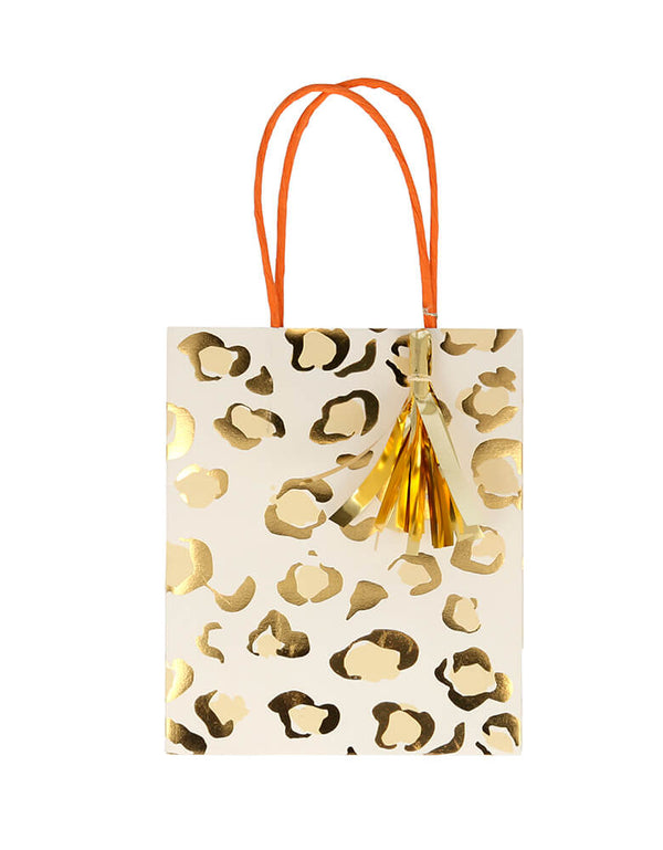 Meri Meri Safari Animal Print Party Bag in Leopard Print. Feature Neon print design with a twisted paper handle and shiny gold foil tassels