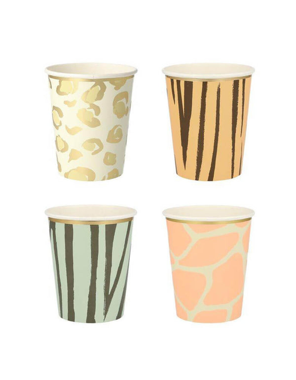 Meri Meri Safari Animal Print 9 oz Party Cups in 4 designs