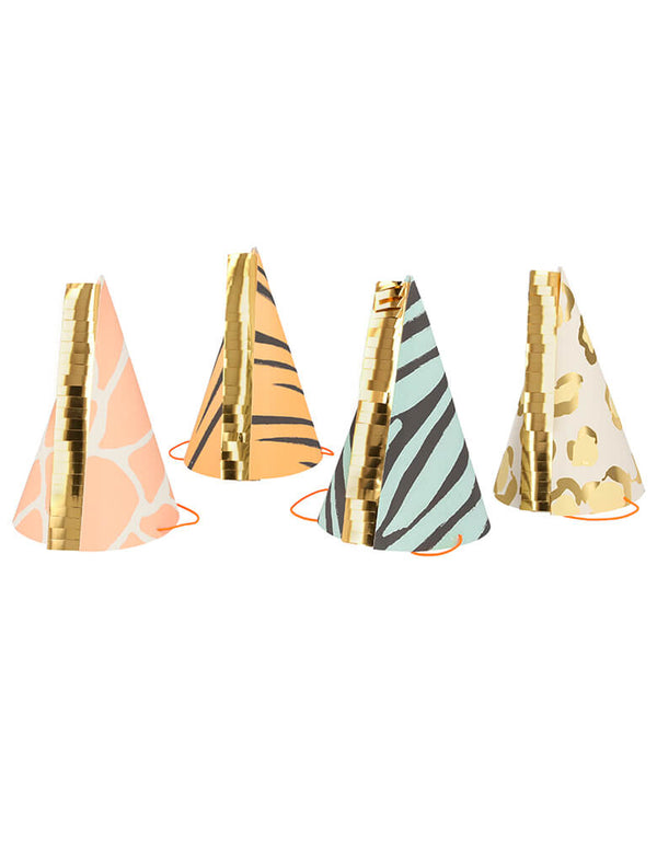 Meri Meri Safari Animal Print Party Hats. Set of 8.  Featuring zebra, giraffe, tiger, and leopard print designs with gorgeous gold foil details and gold foil fringing. make your guests look amazing and fun at your jungle baby shower, jungle-themed party, wild one's birthday party or safari themed birthday party.