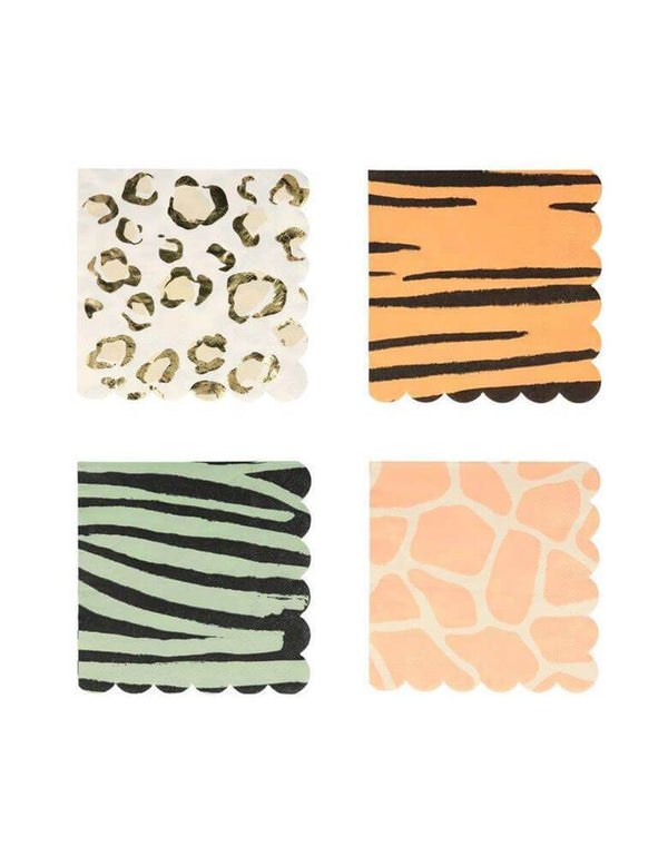 "Meri Meri Safari Animal Print 5"" Small Napkins in 4 designs"