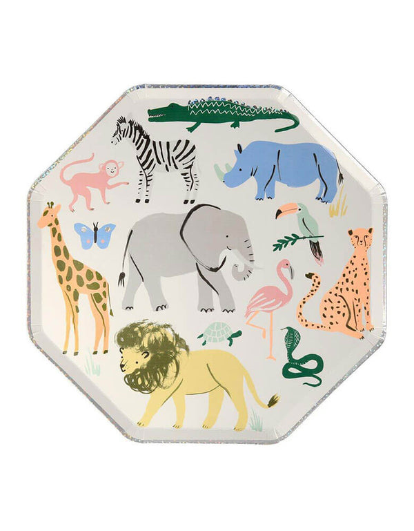 "Meri Meri Safari Animals 10.25"" Dinner Plates with beautiful wild animal illustration"