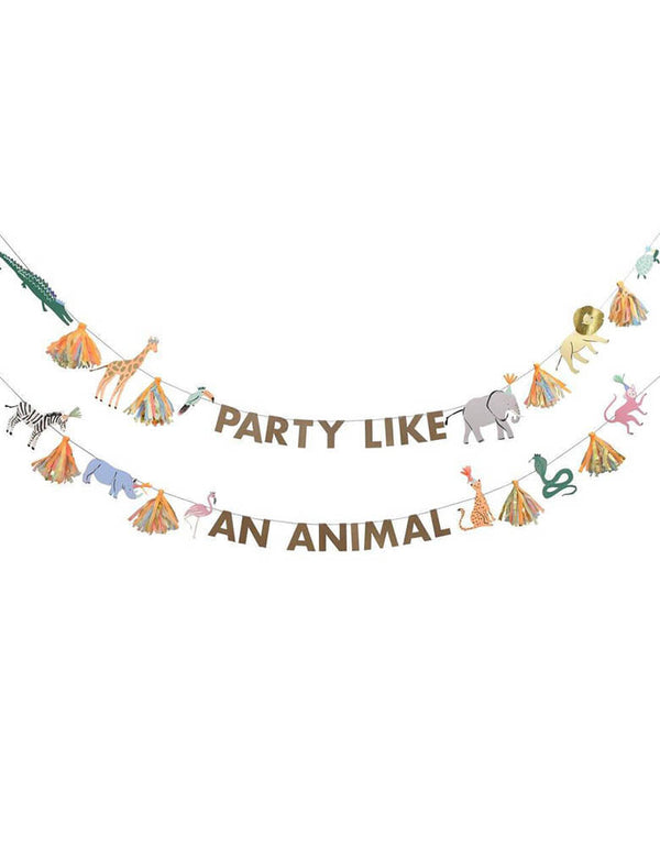Meri Meri 12.5' Safari Animals Large Garland Set spelling out Party Like An animal Message