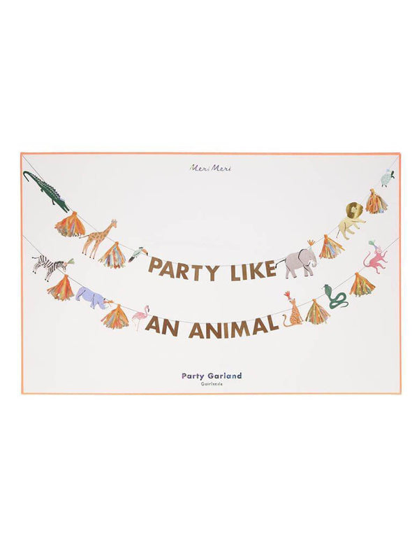 Meri Meri 12.5' Safari Animals Large Garland Set in Package