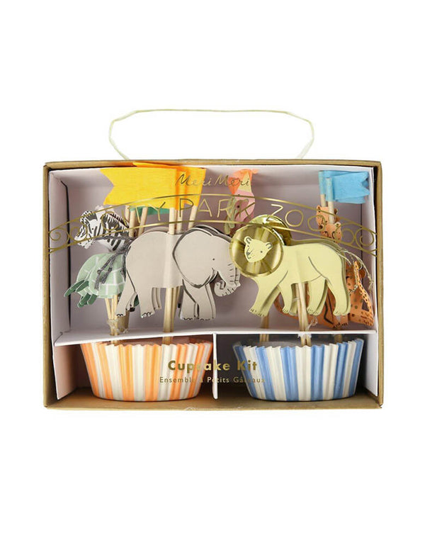 Meri Meri Safari Animals Cupcake Kit featuring designs in elephants, lions, zebras, cheetah, and colorful flags for a safari or zoo themed kids party