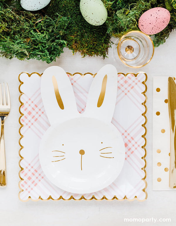my mind's eye Bunny Plates stack on top of My Mind's eye Scalloped Gingham Plates, which Designed with a stylish gingham pattern in pink with gold accent with easter eggs as centerpiece for a cute easter party