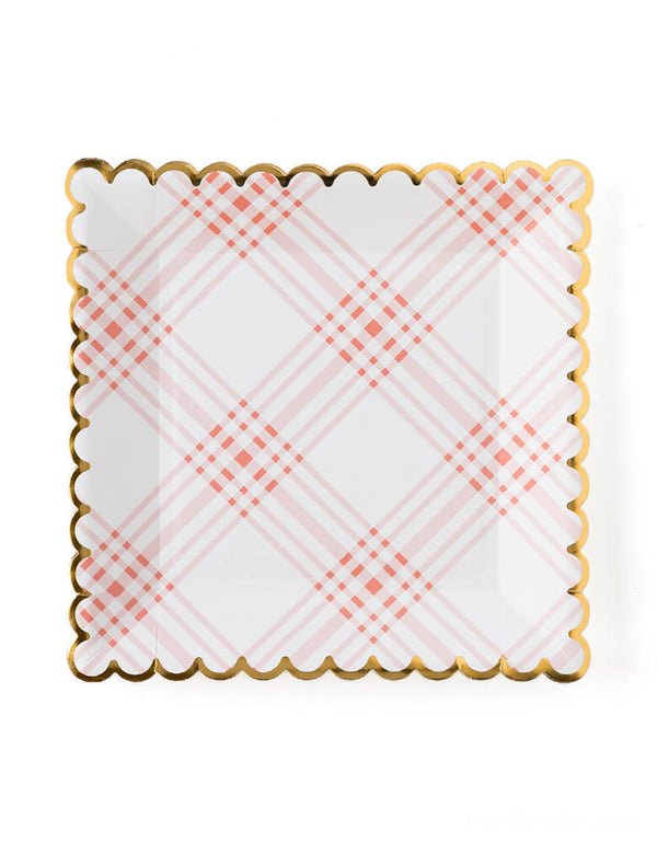 my mind's eye 9 inches Scalloped Gingham Plates. Pack of 12. Designed with a stylish gingham pattern in pink with gold accent, these scalloped plates will make a statement at any birthday, tea party, or Easter brunch!