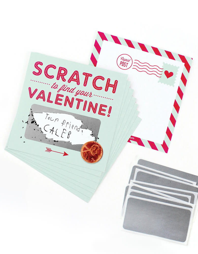 inklings Paperie Scratch-off-Valentines-Card in Mint color, Set of 8, includes 8 flat cards and 8 stickers. Simply write your own special handwritten message in the blank area, cover it with the scratch-off sticker provided, and scratch to reveal your valentine. They're perfect for Valentine's card exchange for the little ones, Valentine's day activities, galentine's day gift