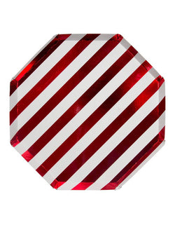 Meri Meri Shiny Red Stripe Dinner Plates 10.25 featuring shiny red foil stripes, printed on both sides