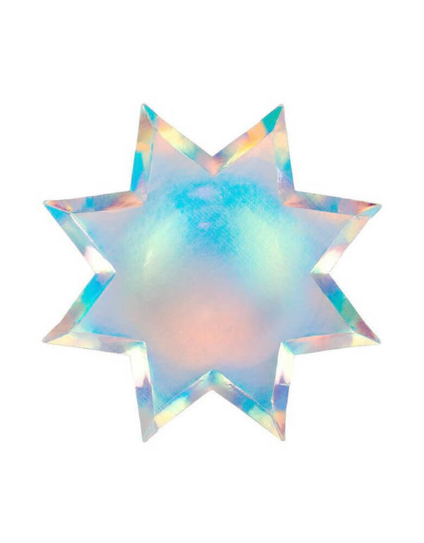 Meri Meri 8-point Shining Star Plates in holographic design, set of 8